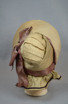 Bonnet, cream and ivory silk with deep brim and salmon ribbon, c. 1830s-1840s, back view by Irma G. Bowen Historic Clothing Collection
