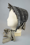 Bonnet, gray silk drawn over cane ribs, c. 1840s-1850s, side view by Irma G. Bowen Historic Clothing Collection