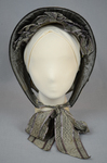 Bonnet, gray silk drawn over cane ribs, c. 1840s-1850s, front view by Irma G. Bowen Historic Clothing Collection
