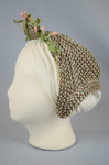 Bonnet, brown and tan raffia spoon bonnet with fabric flowers, c. 1850s-1860s, side view by Irma G. Bowen Historic Clothing Collection