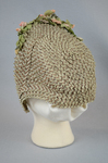 Bonnet, brown and tan raffia spoon bonnet with fabric flowers, c. 1850s-1860s, back view by Irma G. Bowen Historic Clothing Collection