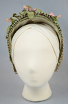 Bonnet, brown and tan raffia spoon bonnet with fabric flowers, c. 1850s-1860s, front view by Irma G. Bowen Historic Clothing Collection
