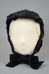 Bonnet, black silk, possibly for mourning, c. 1860s, front view by Irma G. Bowen Historic Clothing Collection