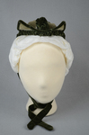 Bonnet, two-tone green velvet with velvet fabric ties, c. 1870s, front view by Irma G. Bowen Historic Clothing Collection