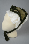 Bonnet, two-tone green velvet with velvet fabric ties, c. 1870s, side view by Irma G. Bowen Historic Clothing Collection