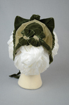 Bonnet, two-tone green velvet with velvet fabric ties, c. 1870s, back view by Irma G. Bowen Historic Clothing Collection