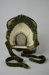 Bonnet, two-tone green velvet with velvet fabric ties, c. 1870s, interior view by Irma G. Bowen Historic Clothing Collection