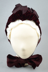 Bonnet, gray felt capote with burgundy velvet and ribbon, and jet beads on a net, 1880s, front view by Irma G. Bowen Historic Clothing Collection