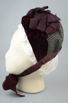 Bonnet, gray felt capote with burgundy velvet and ribbon, and jet beads on a net, 1880s, side view by Irma G. Bowen Historic Clothing Collection