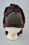 Bonnet, gray felt capote with burgundy velvet and ribbon, and jet beads on a net, 1880s, back view by Irma G. Bowen Historic Clothing Collection