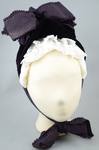 Bonnet, deep purple velvet with a peaked brim and purple silk ribbons, mid-1880s, front view by Irma G. Bowen Historic Clothing Collection