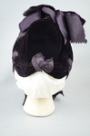 Bonnet, deep purple velvet with a peaked brim and purple silk ribbons, mid-1880s, back view by Irma G. Bowen Historic Clothing Collection