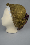 Bonnet, traditional German folk hat of metal lace, 19th century, side view by Irma G. Bowen Historic Clothing Collection