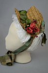 Bonnet, natural straw woven into lace with pink roses and plaid ribbon ties, 1880s, side view by Irma G. Bowen Historic Clothing Collection