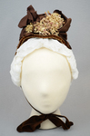 Bonnet, straw with brown velvet, brown grosgrain ribbons, and velvet chrysanthemums, 1880s, front view by Irma G. Bowen Historic Clothing Collection
