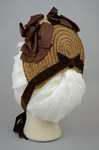 Bonnet, straw with brown velvet, brown grosgrain ribbons, and velvet chrysanthemums, 1880s, back view by Irma G. Bowen Historic Clothing Collection