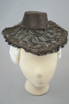 Bonnet, black straw lace, 1890s, front view by Irma G. Bowen Historic Clothing Collection