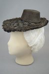 Bonnet, black straw lace, 1890s, side view by Irma G. Bowen Historic Clothing Collection