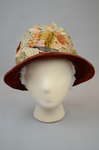 Cloche, rust velvet with embossed flowers, 1920s, front view by Irma G. Bowen Historic Clothing Collection