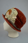 Cloche, rust velvet with embossed flowers, 1920s, left side view by Irma G. Bowen Historic Clothing Collection