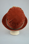 Cloche, rust velvet with embossed flowers, 1920s, back view by Irma G. Bowen Historic Clothing Collection