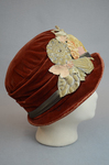 Cloche, rust velvet with embossed flowers, 1920s, right side view by Irma G. Bowen Historic Clothing Collection