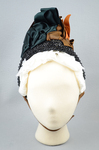 Bonnet, brown velvet capote with jet trim and teal, brown, and orange satin ribbons, 1880s, front view by Irma G. Bowen Historic Clothing Collection