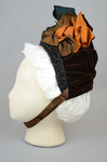 Bonnet, brown velvet capote with jet trim and teal, brown, and orange satin ribbons, 1880s, side view by Irma G. Bowen Historic Clothing Collection