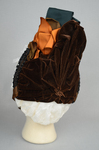 Bonnet, brown velvet capote with jet trim and teal, brown, and orange satin ribbons, 1880s, back view by Irma G. Bowen Historic Clothing Collection