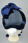 Bonnet, blue straw capote with velvet trim and feather puffs, 1870s-1880s, back view by Irma G. Bowen Historic Clothing Collection