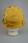 Cloche, yellow silk with raffia accents, 1920s, back view by Irma G. Bowen Historic Clothing Collection