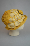 Cloche, yellow silk with raffia accents, 1920s, right side view by Irma G. Bowen Historic Clothing Collection