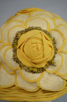 Cloche, yellow silk with raffia accents, 1920s, detail of embellishment by Irma G. Bowen Historic Clothing Collection