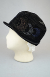 Cloche, black velvet, embroidered, 1920s, left side view by Irma G. Bowen Historic Clothing Collection