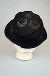 Cloche, black velvet, embroidered, 1920s, back view by Irma G. Bowen Historic Clothing Collection