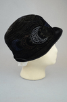 Cloche, black velvet, embroidered, 1920s, right side view by Irma G. Bowen Historic Clothing Collection