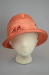 Cloche, salmon raffia, 1920s, front view by Irma G. Bowen Historic Clothing Collection