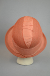 Cloche, salmon raffia, 1920s, back view by Irma G. Bowen Historic Clothing Collection