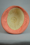 Cloche, salmon raffia, 1920s, interior view with label by Irma G. Bowen Historic Clothing Collection