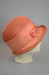 Cloche, salmon raffia, 1920s, right side view by Irma G. Bowen Historic Clothing Collection