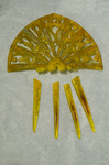 Comb, yellow with rhinestones, late 19th century, front view by Irma G. Bowen Historic Clothing Collection