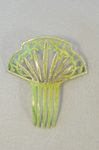Comb, pale green with rhinestones, early 20th century by Irma G. Bowen Historic Clothing Collection