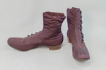 Boots, purple faille high-button, 1880s-1900s, side and front view by Irma G. Bowen Historic Clothing Collection
