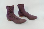 Boots, purple faille high-button, 1880s-1900s, side view by Irma G. Bowen Historic Clothing Collection