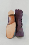 Boots, purple faille high-button, 1880s-1900s, top and sole view by Irma G. Bowen Historic Clothing Collection