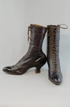 Boots, purple leather high-laced, 1915-1920, side and front view by Irma G. Bowen Historic Clothing Collection