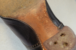 Boots, purple leather high-laced, 1915-1920, detail of sole label by Irma G. Bowen Historic Clothing Collection