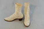 Boots, white canvas high-buttoned, 1915, side and front view by Irma G. Bowen Historic Clothing Collection