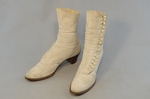 Boots, white canvas high-buttoned, 1915, side view by Irma G. Bowen Historic Clothing Collection
