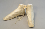 Boots, white satin side-laced, 1852-1854, side and front view by Irma G. Bowen Historic Clothing Collection